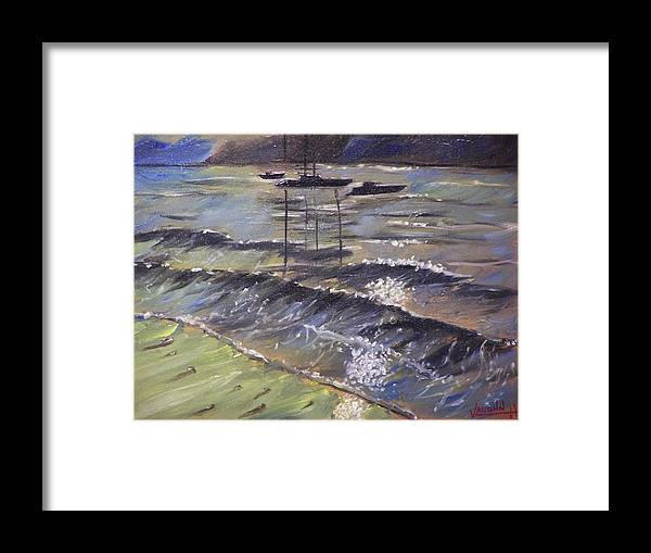 Landscape Framed Print featuring the painting Harbor View by Charles Vaughn