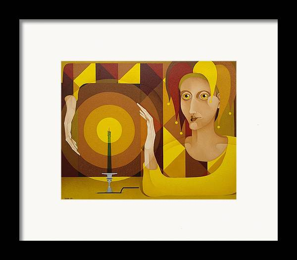 Sacha Sacha Circulism Circulismo Framed Print featuring the painting Harlequin With Candle  2004 by S A C H A - Circulism Technique