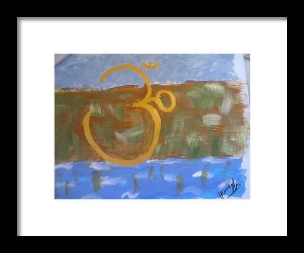 Omkar Framed Print featuring the painting Hds-universal Om by Hema V Gopaluni