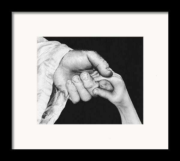 Black And White Framed Print featuring the drawing He Leadeth Me by Jyvonne Inman