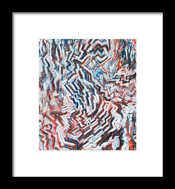 Abstract White Red Brown Blue Layered Pattern Framed Print featuring the painting Heart Of Slate by Joan De Bot