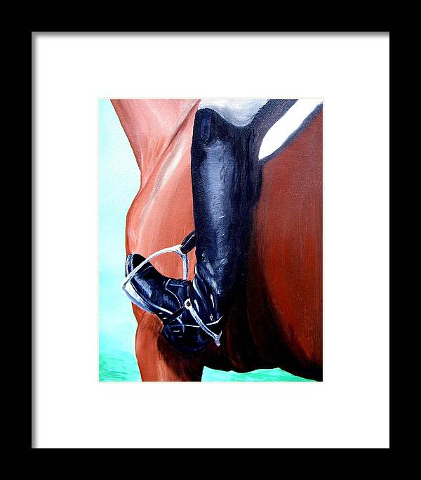 Horse Framed Print featuring the painting Heels Down by Glenda Smith