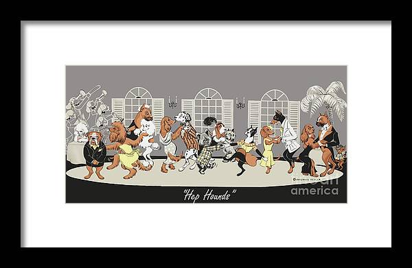 Dogs Framed Print featuring the painting Hep hounds by Constance Depler