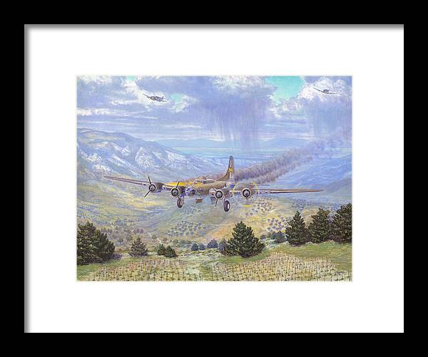 99th Bomb Group Framed Print featuring the painting Her Majestys Last Landing by Scott Robertson