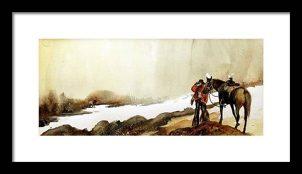 Horse And Rider Framed Print featuring the painting Hey Back Here by Lynne Parker