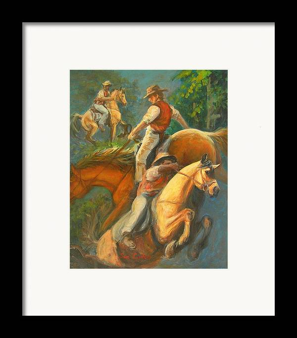 Horses Framed Print featuring the painting High Country Riding by Sue Linton