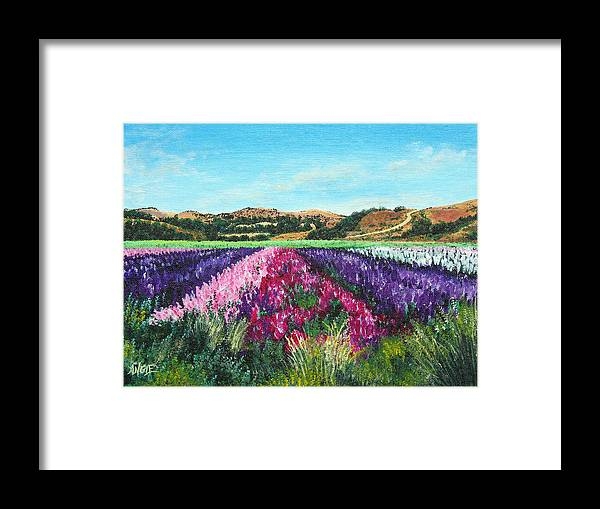 Highway 246 Framed Print featuring the painting Highway 246 Flowers 3 by Angie Hamlin