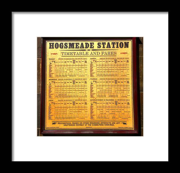 Hogsmeade Station Timetable Framed Print featuring the photograph Hogsmeade Station Timetable by David Lee Thompson