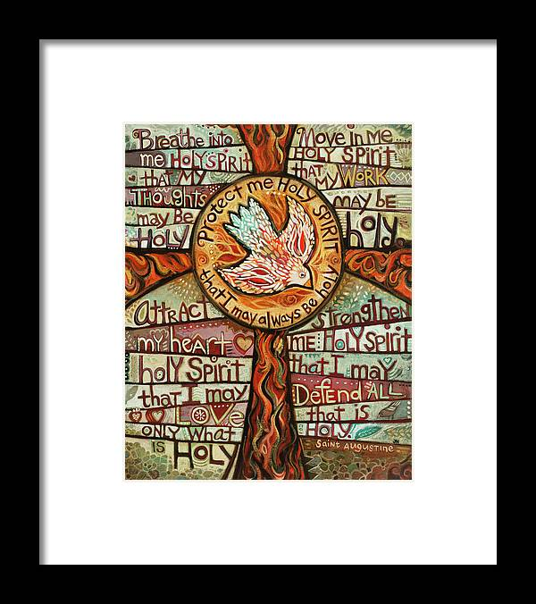 Jen Norton Framed Print featuring the painting Holy Spirit Prayer by St. Augustine by Jen Norton