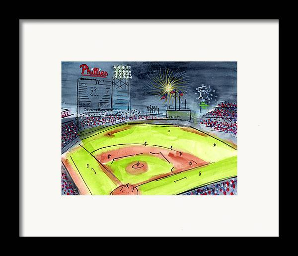 Baseball Framed Print featuring the painting Home Of The Philadelphia Phillies by Jeanne Rehrig