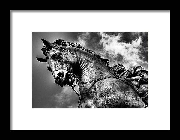 Bronze Horse Statue Knigh Photographs Framed Print featuring the photograph Horse by Nelson Mineiro
