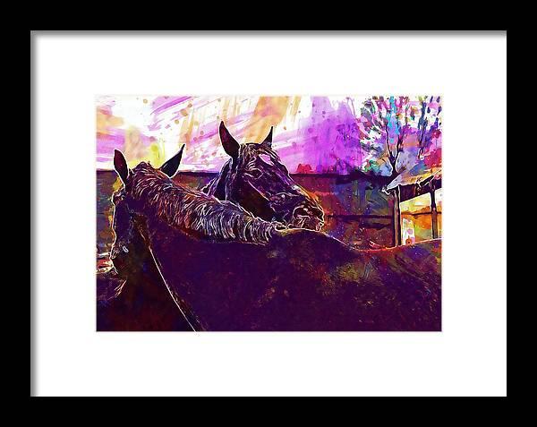 Horses Framed Print featuring the digital art Horses Harmony For Two Animal World by PixBreak Art