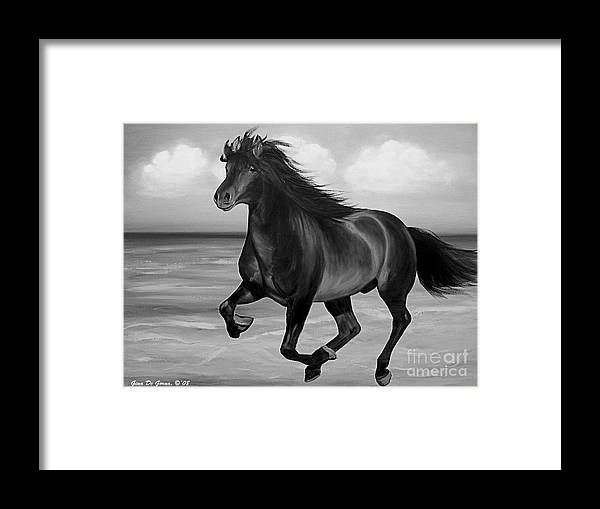 Horses Framed Print featuring the painting Horses in Paradise RUN by Gina De Gorna