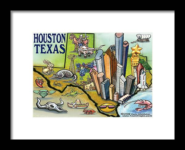 Houston Framed Print featuring the digital art Houston Texas Cartoon Map by Kevin Middleton