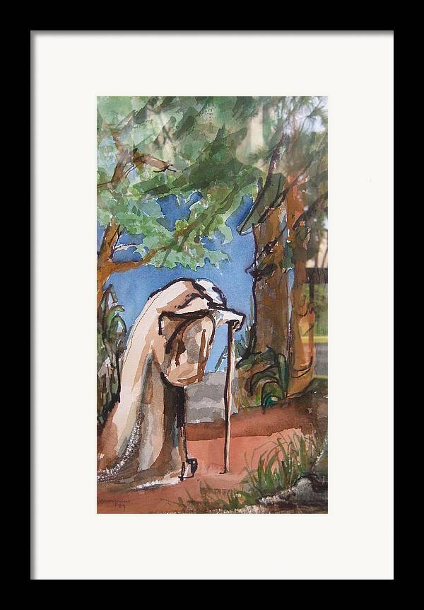 Landscape Framed Print featuring the painting I Carry Your Load by Mabel Moyano