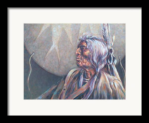 Old Indian Framed Print featuring the painting I Was Young Once by Don Trout