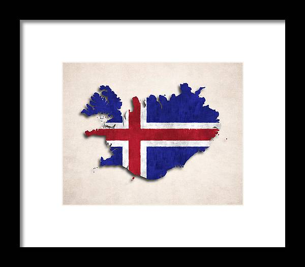 Iceland Framed Print featuring the digital art Iceland Map Art With Flag Design by World Art Prints And Designs