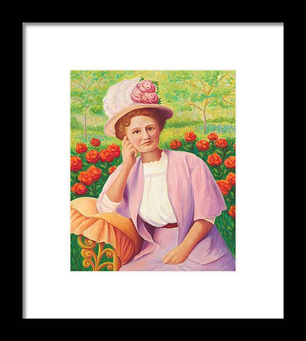 Portrait Framed Print featuring the painting Ida In The Garden by Amy Vangsgard
