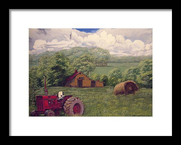Landscape Framed Print featuring the painting Idle In Godfrey Georgia by Peter Muzyka