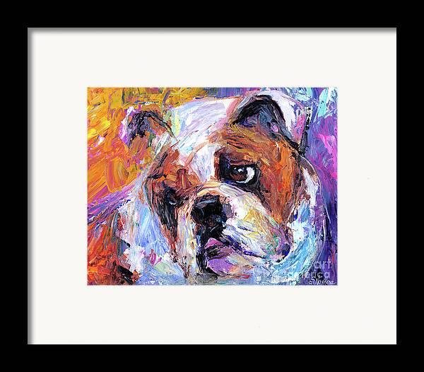 English Bulldog Painting Framed Print featuring the painting Impressionistic Bulldog Painting by Svetlana Novikova
