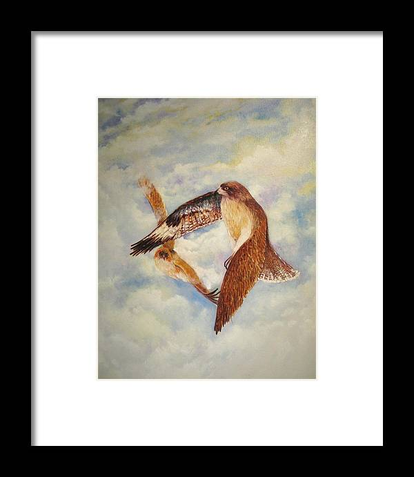Birds Of Prey Framed Print featuring the painting In Flight by David Kelly