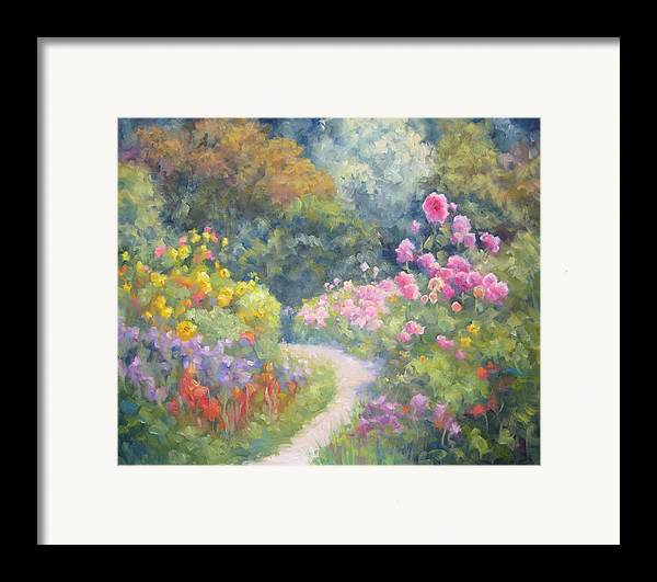 Garden Framed Print featuring the painting In Monets Footsteps by Bunny Oliver