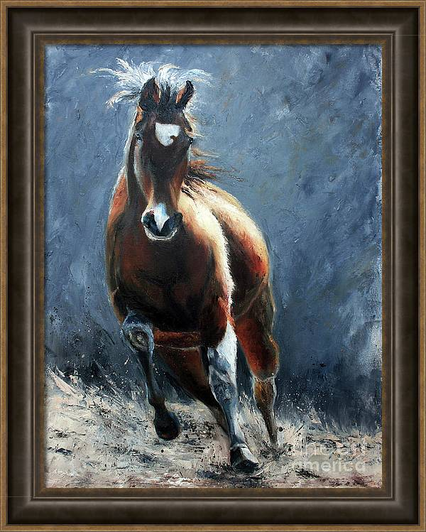 Horse Painting Framed Print featuring the painting In Motion by Terri Meyer