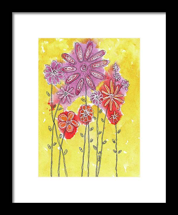 Watercolor And Ink Framed Print featuring the painting In The Garden by Susan Campbell