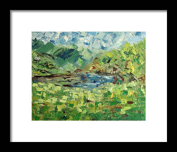 Mountain Framed Print featuring the painting In The Mountains by Natia Tsiklauri