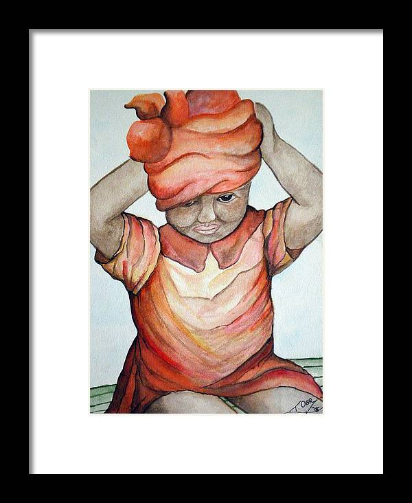 Girl Framed Print featuring the painting Indian Girl by Tammera Malicki-Wong