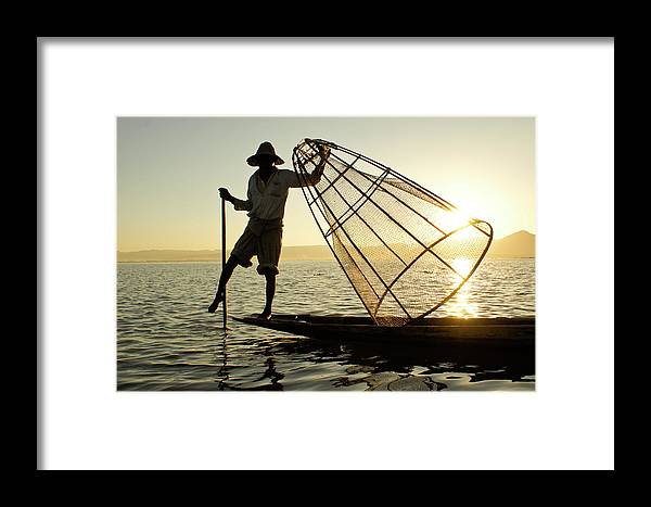 Asia Framed Print featuring the photograph Inle Lake Fisherman by Michele Burgess