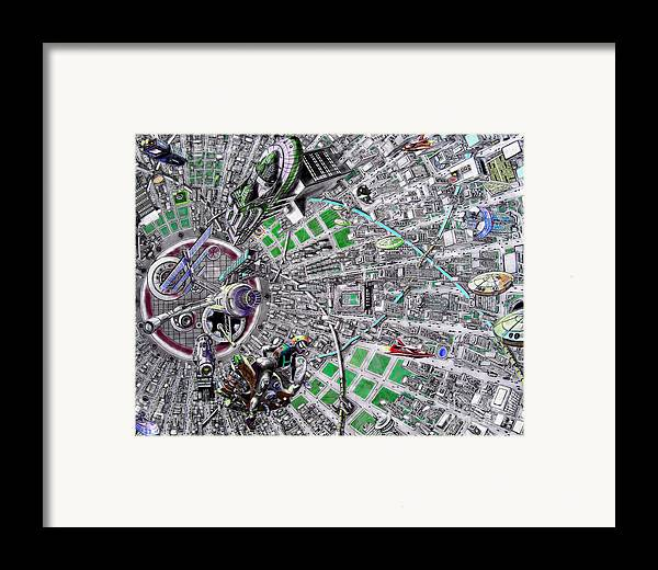 Landscape Framed Print featuring the drawing Inside Orbital City by Murphy Elliott