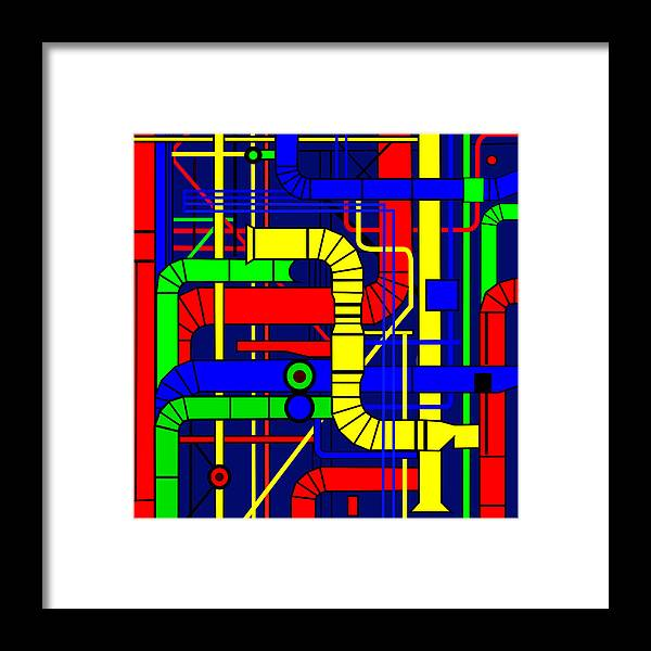 Centre Georges Pompidou Framed Print featuring the digital art Inspired by the Centre Georges Pompidou by Asbjorn Lonvig