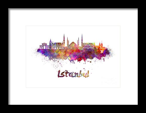 Istanbul Skyline In Watercolor Framed Print by Pablo Romero
