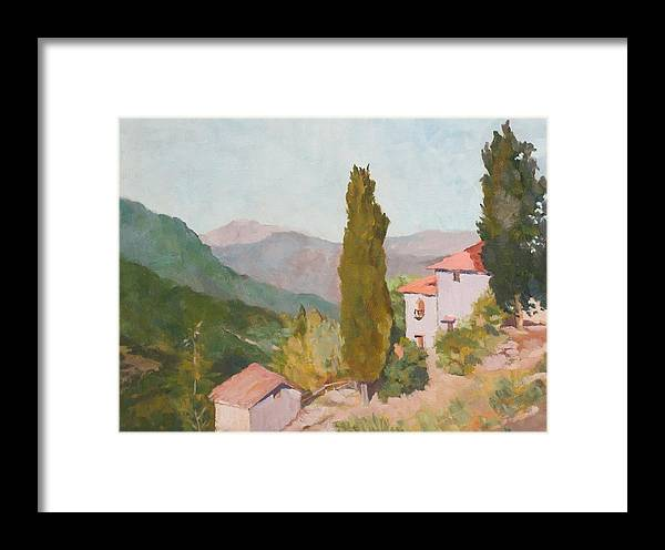 Landscape Framed Print featuring the painting Italian Villa by Fay Terry
