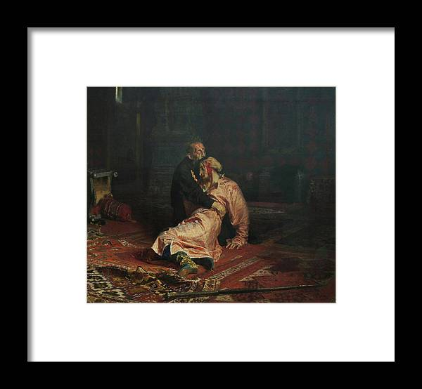 Ilya Repin Framed Print featuring the painting Ivan The Terrible and His Son Ivan on November 16, 1581 by Ilya Repin