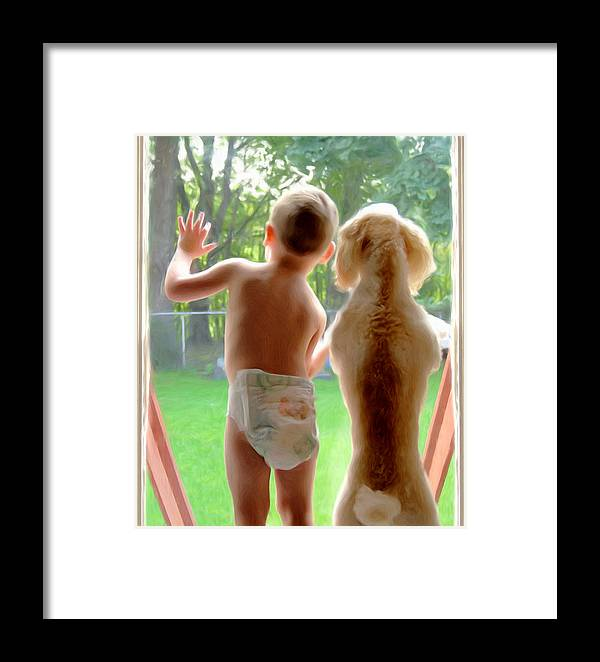 Boy And Dog Framed Print featuring the painting Jack And Buddy by Russell Michael