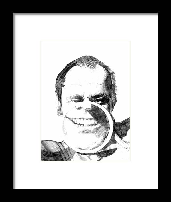 Jack Nicholson Framed Print featuring the drawing Jack by Brian Child