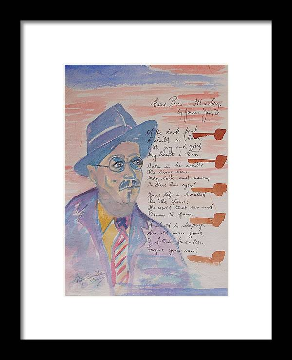 Limited Edition Print Framed Print featuring the painting James Joyce by Roger Cummiskey