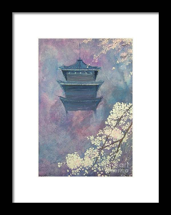Landscape Japan Framed Print featuring the painting Japanese Spring Scene by Lizzy Forrester