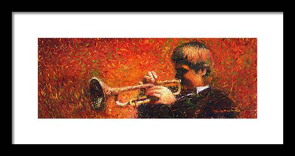 Jazz Framed Print featuring the painting Jazz Trumpeter by Yuriy Shevchuk