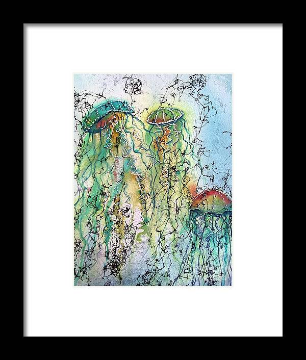 Jellyfish Framed Print featuring the painting Jellyfish IIi by Midge Pippel