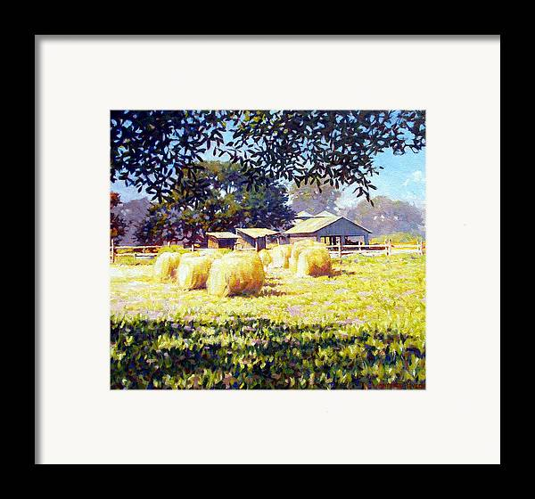 Hay Framed Print featuring the painting Jenny Rays Farm by Kevin Lawrence Leveque