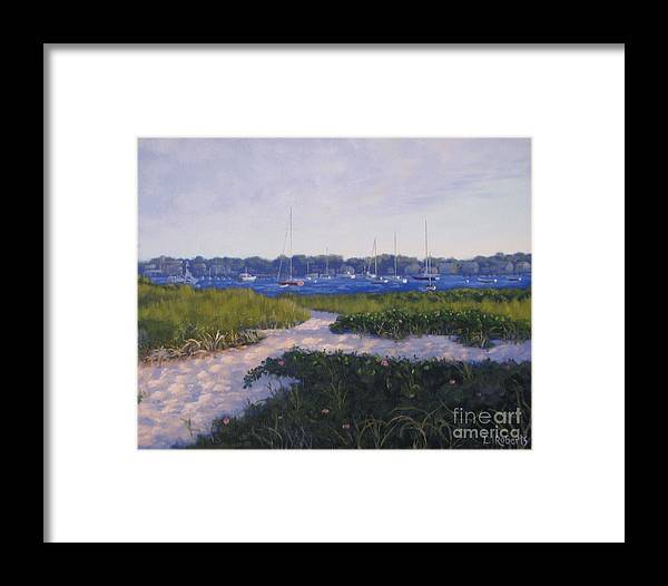 Landscape Framed Print featuring the painting Jetty Beach Path by Laura Roberts