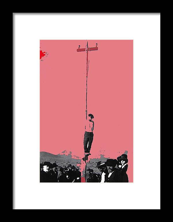 John Heath Lynched Telephone Pole February 22 1884 Collage Tombstone Arizona 1884 Framed Print featuring the photograph John Heath Lynched Telephone Pole February 22 1884 Collage Tombstone Arizona 1884-2012 by David Lee Guss