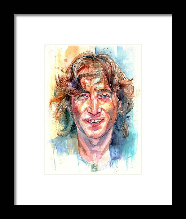John Lennon Framed Print featuring the painting John Lennon portrait by Suzann Sines