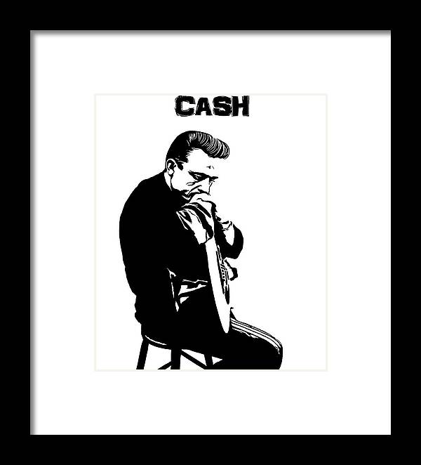 Johnny Cash Black And White Framed Print by Dan Sproul