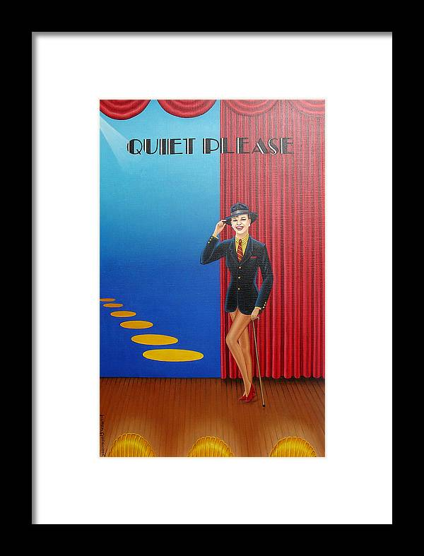 Judy Garland Framed Print featuring the painting Judy On Stage by Tracy Dennison