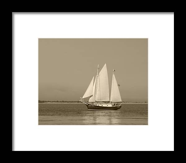 Ketch Framed Print featuring the photograph Ketch - Nantucket Harbor by Henry Krauzyk