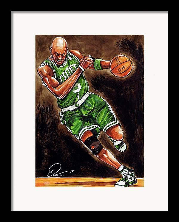 Kevin Garnett Framed Print featuring the painting Kevin Garnett by Dave Olsen
